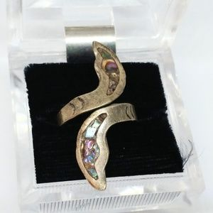 Abalone Shell Inlay Sterling Silver Wrap Ring